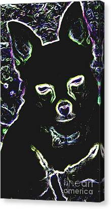 Chihuahua Silhouette With Color Canvas Print by Gail Matthews