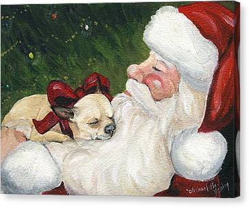 Chihuahua's Cozy Christmas Canvas Print by Charlotte Yealey