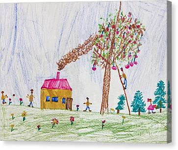 Child Drawing Of A Happy Family Canvas Print by Kiril Stanchev