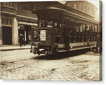 Child Riding On A Tram, Boston, 1909 Canvas Print by Science Photo Library
