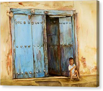 Child Sitting In Old Zanzibar Doorway Canvas Print by Sher Nasser