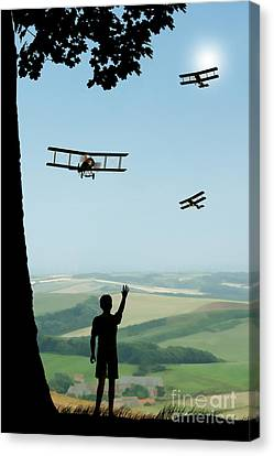 Childhood Dreams The Flypast Canvas Print by John Edwards