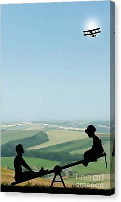Childhood Dreams The Seesaw Canvas Print by John Edwards