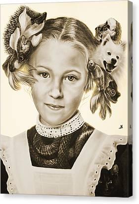 Childhood Pets Canvas Print by Maria Bozina