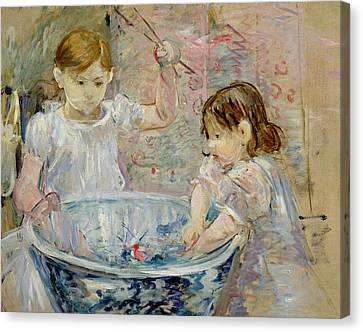 Children At The Basin Canvas Print by Berthe Morisot