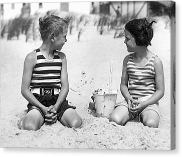 Children At The Beach Canvas Print by Underwood Archives