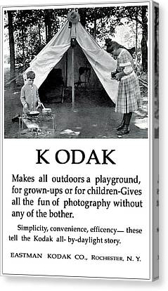 Children  Camping. Circa 1913. Canvas Print by Unknown Photographer