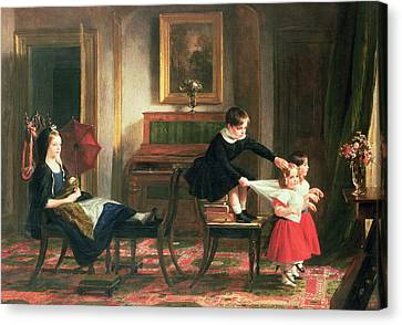 Children Playing At Coach And Horses Canvas Print by Charles Robert Leslie