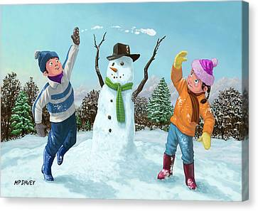Children Playing In Snow Canvas Print by Martin Davey