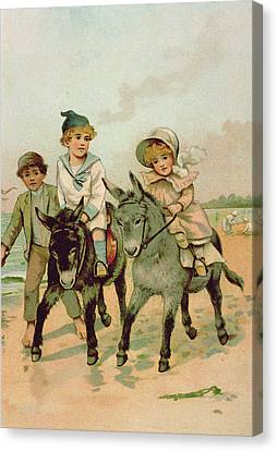 Children Riding Donkeys At The Seaside Canvas Print by Harriet M Bennett