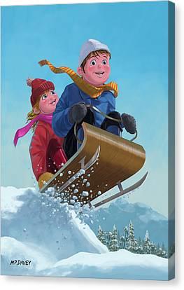 Children Snow Sleigh Ride Canvas Print by Martin Davey
