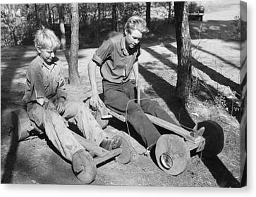 Children With Homemade Toys Canvas Print by Russell Lee