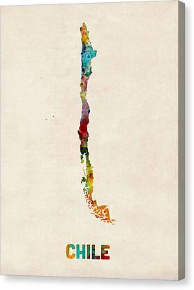 Chile Watercolor Map Canvas Print by Michael Tompsett