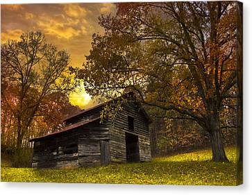 Chill Of An Early Fall Canvas Print by Debra and Dave Vanderlaan