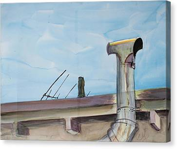Chimney Pipe And Berkeley Sky Canvas Print by Asha Carolyn Young