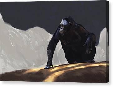Chimp Contemplation Canvas Print by Aaron Blaise