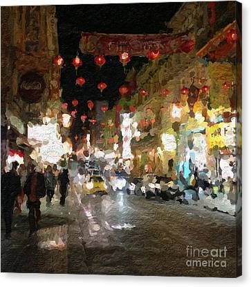 China Town At Night Canvas Print by Linda Woods
