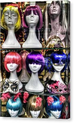 Chinatown San Francisco Colorful Wigs On Female Mannequin Heads  Canvas Print by The  Vault - Jennifer Rondinelli Reilly