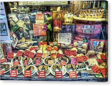 Chinatown Window Display Of Chinese Food  Canvas Print by The  Vault - Jennifer Rondinelli Reilly