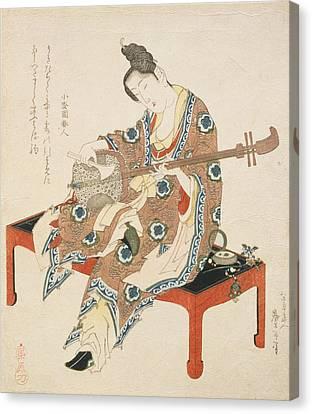 Chinese Beauty Playing The Shamisen Canvas Print by Katsushika II Taito