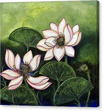 Chinese Lotus With Gold Pollen Canvas Print by Sucheta Misra