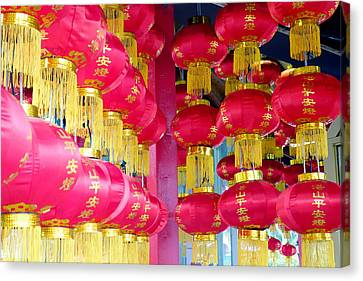 Chinese Temple Lanterns Canvas Print by Valentino Visentini