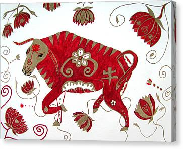 Chinese Year Of The Ox Canvas Print by Barbara Giordano