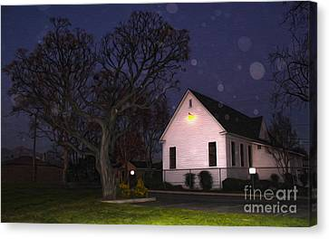 Chino Old School House At Night- 01 Canvas Print by Gregory Dyer