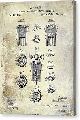 Champagne Retaining Device Patent Drawing 1889 Canvas Print by Jon Neidert