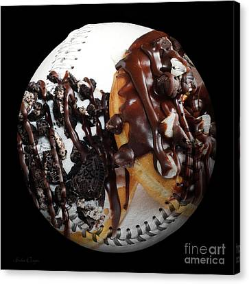 Chocolate Donuts Baseball Square Canvas Print by Andee Design