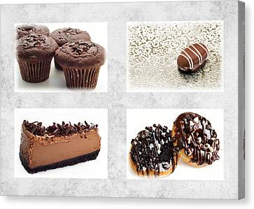 Choice Of Chocolate 4 X 4 Collage 1 - Bakery Sweets Shoppe Canvas Print by Andee Design