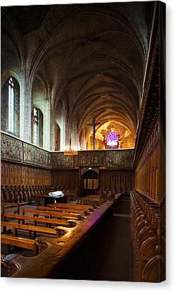 Choir Stalls At Abbatiale Saint-robert Canvas Print by Panoramic Images