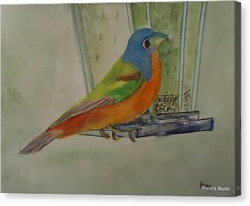 Chris' Birdfeeder Canvas Print by Betty Pimm