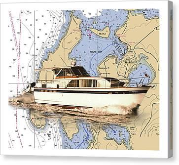 Yacht On A Chart Chris Craft San Juan Islands Chart Canvas Print by Jack Pumphrey