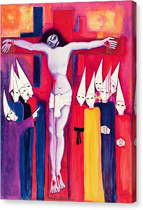 Christ And The Politicians, 2000 Acrylic On Canvas Canvas Print by Laila Shawa