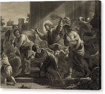Christ Clearing The Temple 1886 Engraving Canvas Print by Antique Engravings
