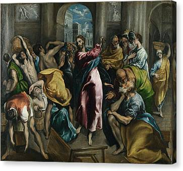 Christ Driving The Traders From The Temple Canvas Print by Celestial Images