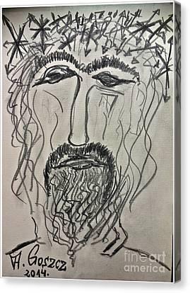 Christ In Distress. Pensive Christ. Chrystus Frasobliwy. By Andrzej Goszcz. Canvas Print by  Andrzej Goszcz