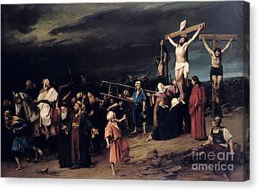 Christ On The Cross Canvas Print by Mihaly Munkacsy