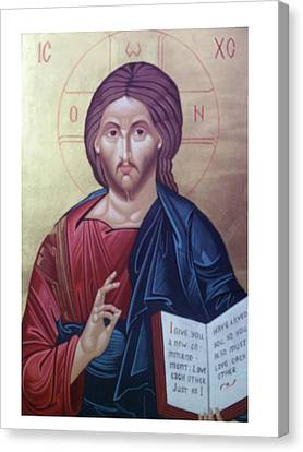 Christ Pantocrator-byzantine Icon Canvas Print by Janeta Todorova
