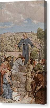 Christ Preaching Canvas Print by Hans Thoma