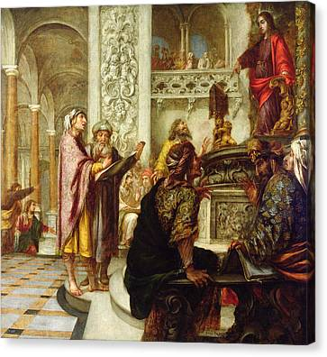 Christ Preaching In The Temple Canvas Print by Juan de Valdes Leal