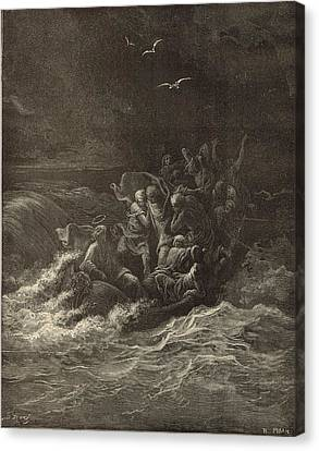 Christ Stilling The Tempest Canvas Print by Antique Engravings