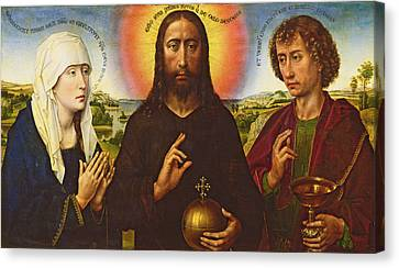 Christ The Redeemer With The Virgin And St. John The Evangelist, Central Panel From The Triptych Canvas Print by Rogier van der Weyden