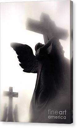 Angel With Jesus On Cross - Christian Art Cross - Spiritual Angel On Cross  Canvas Print by Kathy Fornal