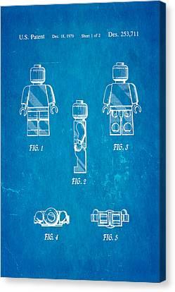 Christiansen Lego Figure 2 Patent Art 1979 Blueprint Canvas Print by Ian Monk