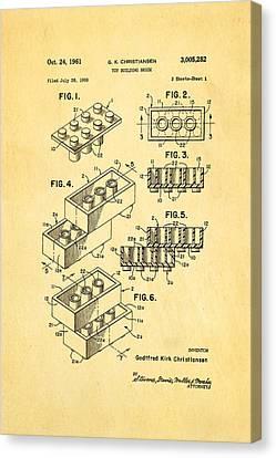 Christiansen Lego Toy Building Block Patent Art 1961 Canvas Print by Ian Monk