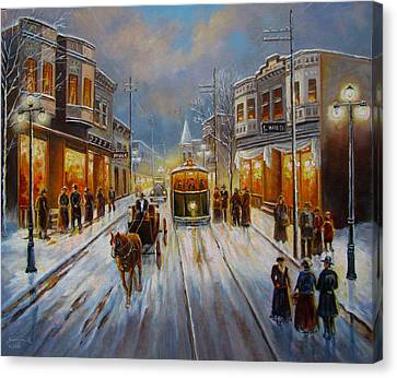 Christmas Atmosphere In A Small Town America In 1900 Canvas Print by Regina Femrite