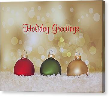 Christmas Baubles Canvas Print by Kim Hojnacki