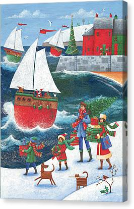 Christmas By The Sea Canvas Print by Peter Adderley